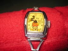 1937 Vintage Ingersoll Mickey Mouse Character Watch, Rectangular, Needs Repair