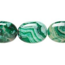 1955 Crazy Dentelle Agate Plat Ovale perles vert 20 mm 16 in (environ 40.64 cm) * UK boutique eBay *