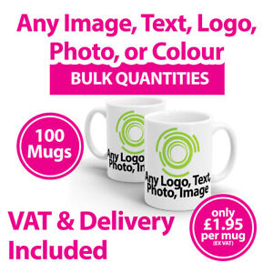 100 Promotional Mugs Cups Any Image, Text or Logo - Personalised Mugs - Printed