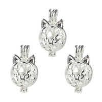 5X Silver/Gold Cat Animal Pearl Cage Locket Pendant Fragrance Oil Diffuser Gifts