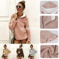 Women Long Sleeve Hooded Sweatshirt Faux Shearling Warm Winter Outwear Pullover