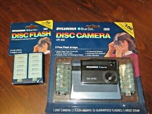 NEW Vtg Sylvania Blue Dot Disc Camera VR 100 + 4 Flash Arrays