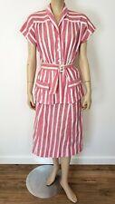 1940s Vintage 30s 40s Pink STRIPED COTTON TOP & SKIRT SUIT SET OUTFIT sz S