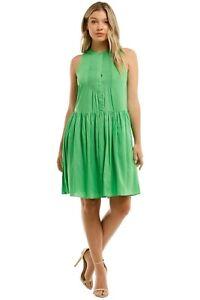 Witchery Pintuck Mini Dress in Jewel Green Size 14