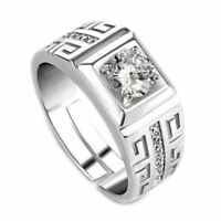 1 Pcs Elegant Diamond Men's Ring Crystal Open Rings Wedding Jewelry For Men B7J2