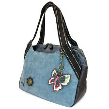 New Chala Handbag Bowling Zip Tote BUTTERFLY Large Bag Indigo Blue Pleather gift