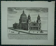c1730 ANTIQUE LONDON PRINT NORTH WEST PROSPECT CATHEDRAL CHURCH ST PAUL HISTORY
