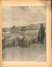 Les Espions Berger Troupeau Moutons Herd Sheep Hermann Vogel Peintre 1916 WWI