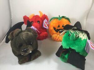 Puffkins Plush Halloween Lot Witch Hazel Pumpkin Gourdy Bat Ding Devil Red 1997