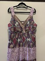 Autograph Maxi Dress 16, Cotton Plus size, tiered layers, Summer paisley print