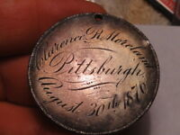 PITTSBURGH 1876 LOVE TOKEN CLARENCE MORELAND IN 8 REALES DURANGO 1830s