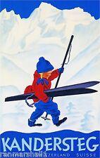 Switzerland - Kandersteg Suisse Winter Ski Europe Travel Advertisement Poster