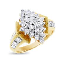1.00 Ct. Natural Diamond Cluster Cocktail Ring In Solid 14k Yellow Gold