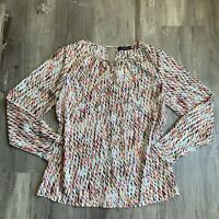 The Limited Medium Top Multicolor Print Shirt Long Sleeve Blouse Cutout Womens