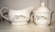 Pfaltzgraff 2-Pc Serving Set Ceramic Gravy Boat & Sugar Bowl Floral Design EUC