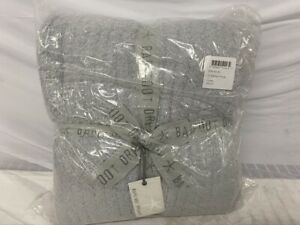 "New Barefoot Dreams Cozy Chic Contrast Tip Blanket 45"" x 60"" Ocean Gray Ribbed"