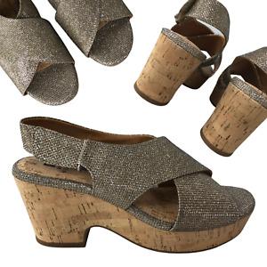 "NEW White Mountain Gold Glitter Cork 3"" Wedge Bottom Sandals Women's Size 7.5"