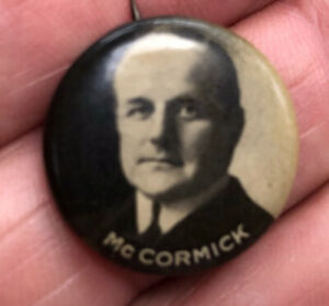 """Vintage PA Governor Mayor Vance McCormick 1914 7/8"""" pin pinback"""