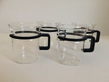 BODUM 4 Teegläser Teetassen Glas Becher Kunststoffgriff dunkelblau