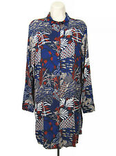 H&M Shirt Dress Women Size 8 Red Blue White Floral Button Front Long Sleeve HM