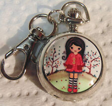 Girl in Red 1 Clip On Pocket Watch Montre Fille en Rouge