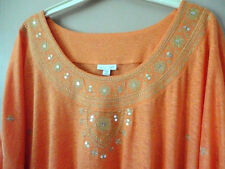 J.Jill WOMAN 2X Knit Linen Oversize Embroidered tunic top Pale Gold Orange  NWT