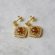 Amber Earrings Gold Plated Silver Earrings Amber Studs Dangle Vintage Gift her
