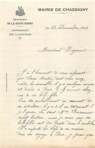 Ancienne lettre - Mairie de CHASSIGNY 1934