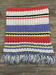 """Hand Made Crochet Knit Throw Blanket With Fringe 54"""" X 58"""" Multicolor Stripe"""