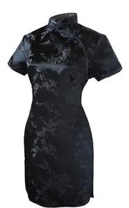 UK Black Cherry Blossom Chinese Short Evening Party Dress Qipao Cheongsam