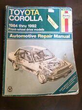 Toyota Corolla Haynes Repair Manual 1984-1992 FWD Models.Worn But Readable
