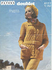 Vintage knitting pattern ladies jacket in chunky with belt option