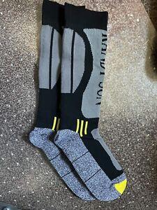 RANDY SUN Waterproof Skiing Socks, LARGE GRAY Unisex Knee Length Breathable