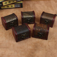 Wooden Vintage Treasure Chest Wood Jewellery Storage Box Case Organiser Ring V-