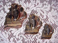 New listing Vtg 64 Nautical/Sail Ships Miller Studio Bronze-Black Chalkware Wall Art Plaques