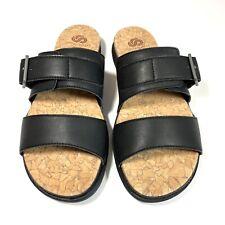 Clarks Step June Tide Women's Sandal Slides Black Leather Two Straps Size 8M New