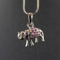 Natural Ruby Elephant Pendant Exquisite Red Gemstones 925 Sterling Silver