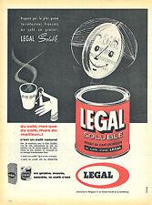 PUBLICITE ADVERTISING 025  1961  LEGAL  café soluble