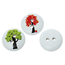 10  Mixed Tree Design Wood Buttons 15mm Sewing crafts accessories