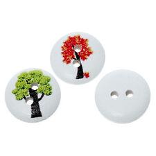 10 Misti TREE design LEGNO pulsanti 15mm cucito artigianato accessori GRATIS UK P & P