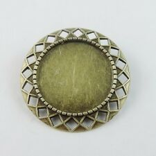 8pcs Vintage Bronze Alloy Round Cameo Setting Pin Brooch Base Jewelry 38777