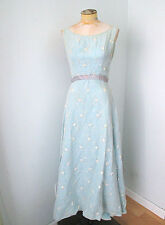 Vtg 60's Nadine ice blue prom maxi dress formal gown embroidered flowers S