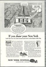 1939 NEW YORK CENTRAL RR advertisement, NYC, Grand Central, Worlds Fair