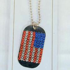 12 wholesale BULK LOT AMERICAN FLAG CRYSTAL DOG TAG NECKLACE ball chain military