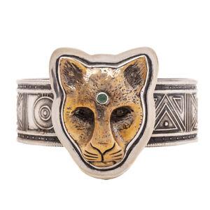 Tabra 925 Silver & Bronze Jaguar Moonstone Aventurine Medium Cuff Bracelet