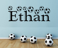 BOYS PERSONALISED NAME FOOTBALL WALL ART STICKER VINYL DECAL BEDROOM WORDS DECOR