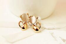 Elegant Süß goldfarben Opal Imitation Kätzchen Ohrstecker ee1138