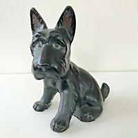 "Vintage Chalkware Black Dog Scottie Scottish Terrier Figurine 9"" Large"