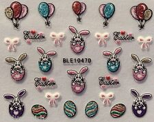 Nail Art Stickers Decals Transfers Nail Bows Easter Bunny Rabbit Bunnies (047)