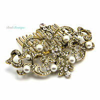 Bridal Wedding Vintage Antique Style Gold Crystal & Pearl Hair Comb Slide HC40